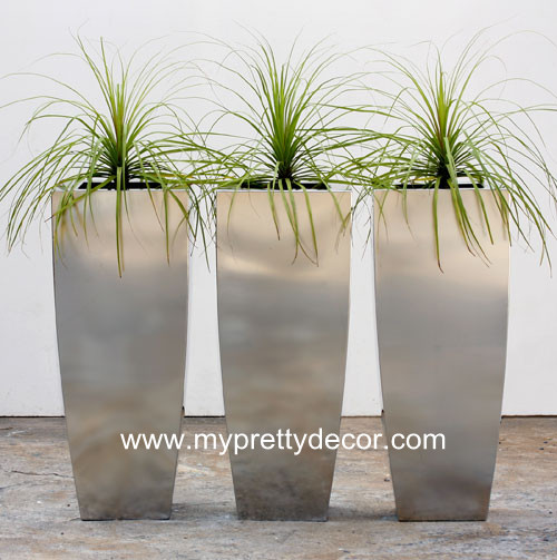 Tall Tapered Stainless Steel Planter Box